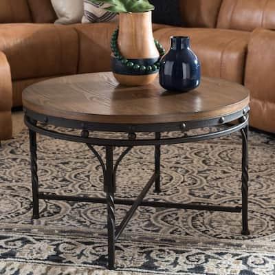 Austin 30 in. Medium Brown Wood/Black Medium Round Wood Coffee Table