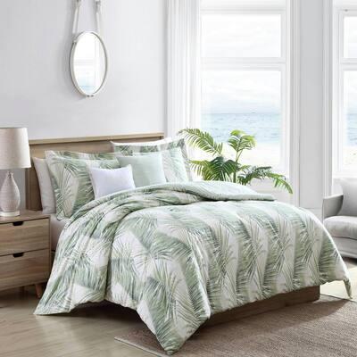 Kauai 5-Piece Green Botanical Cotton Full/Queen Bonus Comforter Set