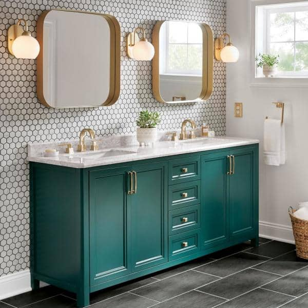 Home Decorators Collection Sandon 72 In W X 22 In D Bath Vanity In Emerald Green With Marble Vanity Top In Carrara White With White Basin Sandon 72eg The Home Depot