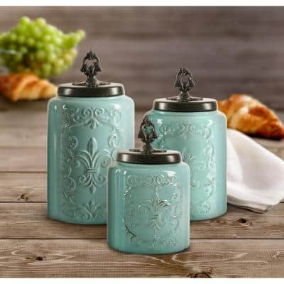 3-Piece Blue Antique Earthenware Canister Set with Lid