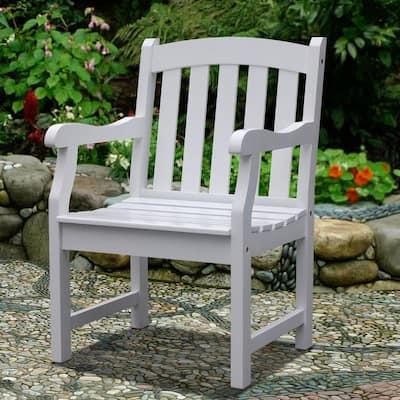 Bradley Acacia Slatted White Patio Armchair