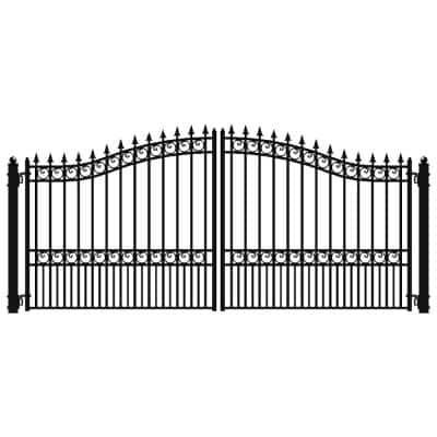 London Style 16 ft. x 6 ft. Black Steel Dual Driveway Fence Gate