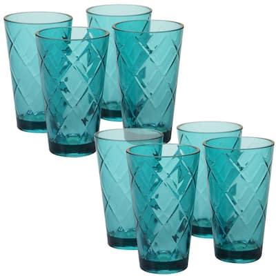 20 oz. 8-Piece Teal Acrylic Ice Tea Glass