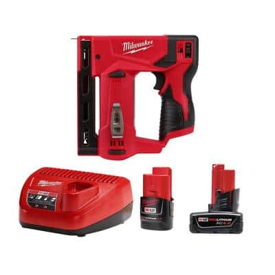 M12 12-Volt Lithium-Ion Cordless 3/8 in. Crown Stapler with One 4.0 Ah and One 2.0 Ah Battery Pack and Charger