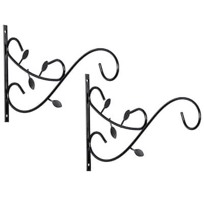 Steel Metal Decorative Wall Mounted Hook for Hanging Plants, Bracket Hanger Flower Pot Holder (2-Pack)