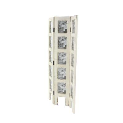 51 in. White Wood Farmhouse Room Divider Screen