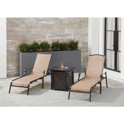 Monaco 3-Piece Aluminum Patio Fire Pit Conversation Set with Chaise Lounges and Fire Pit Side Table