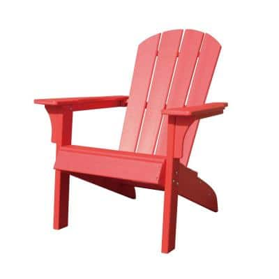 Waller 37 in. Red Casual Plastic Adirondack Chair with Fan-Shaped Backrest and Armrests