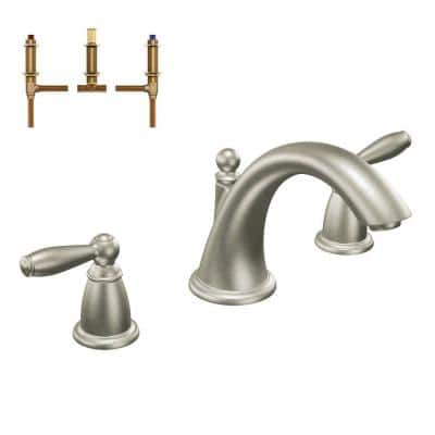 Brantford 2-Handle Deck-Mount Roman Tub Faucet in Brushed Nickel (Valve Included)