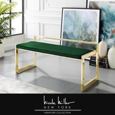 Ledger Green/Gold Velvet Bench with Metal Frame