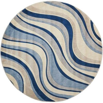 Somerset Ivory/Blue 6 ft. x 6 ft. Floral Contemporary Round Area Rug