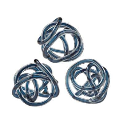 6 in. Round Navy Blue Decorative Glass Knot Sculptures (Set of 3)