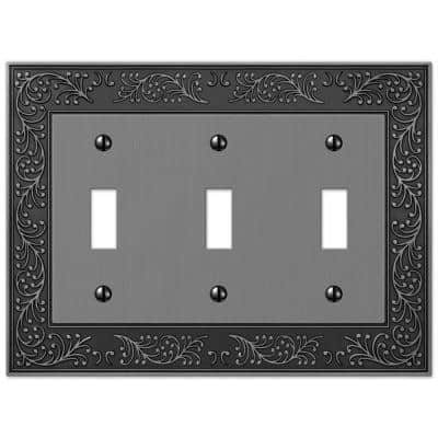 English Garden 3 Gang Toggle Metal Wall Plate - Antique Nickel