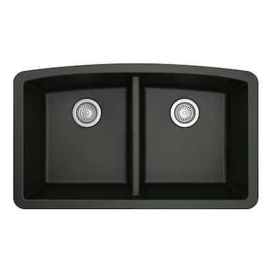 Undermount Quartz Composite 32 in. 50/50 Double Bowl Kitchen Sink in Black