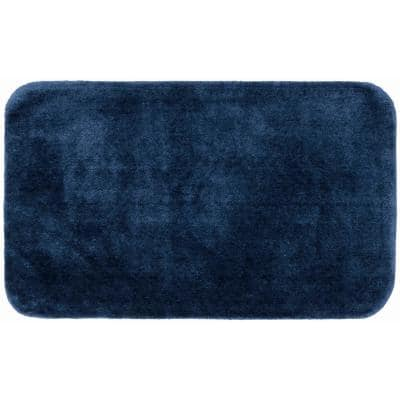 Traditional Navy 30 in. x 50 in. Plush Nylon Bath Mat