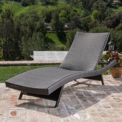 Mixed Mocha Wicker Outdoor Chaise Lounge