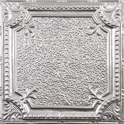 Pattern #28 in Brushed Satin Nickel 2 ft. x 2 ft. Nail Up Tin Ceiling Tile (20 sq. ft./Case)