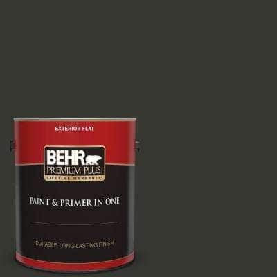 1 gal. #T13-3 Black Lacquer Flat Exterior Paint and Primer in One