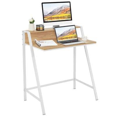 31 in. Rectangle Natural Wood Computer Desk