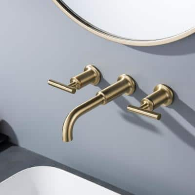 Modern two-handle brass bathroom wall faucet 3 hole in brushed gold