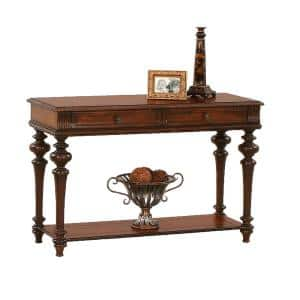 Mountain Manor 48 in. Heritage Cherry Standard Rectangle Wood Console Table with Drawers