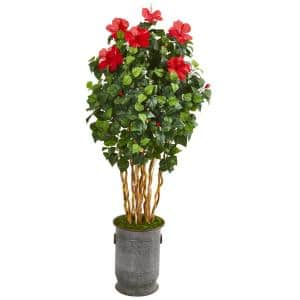 67 in. Hibiscus Artificial Tree in Decorative Planter