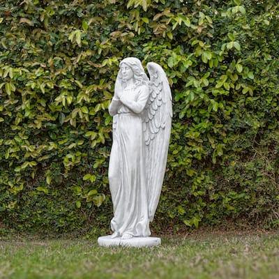 47 in. Tall Indoor/Outdoor Praying Angel Statue Yard Art Decoration, Light Gray