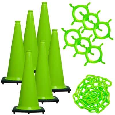 28 in. Green Traffic Cone and Chain Kit Safety