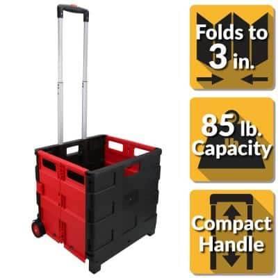Portable 18 in. Plastic Utility Cart in Black/Red