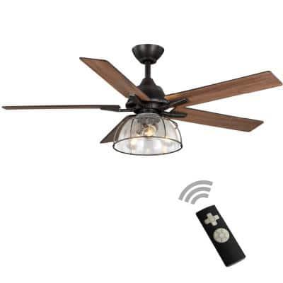 Casun 52 in. LED Indoor Aged Iron Ceiling Fan with Remote Control and Light Kit