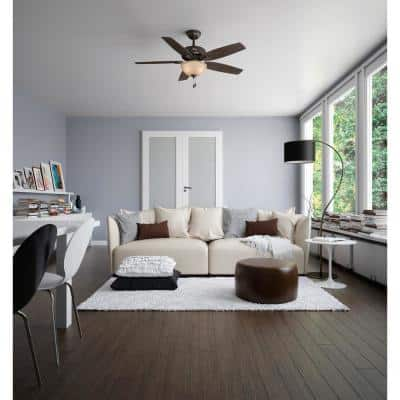 Newsome 52 in. Indoor Premier Bronze Ceiling Fan With LED Light Kit and Remote