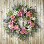 18 in. Artificial Daisy and Cosmos Flowers Wreath