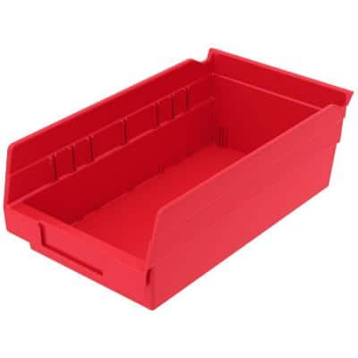 Shelf Bin 15 lbs. 11-5/8 in. x 6-5/8 in. x 4 in. Storage Tote in Red with 0.8 Gal. Storage Capacity