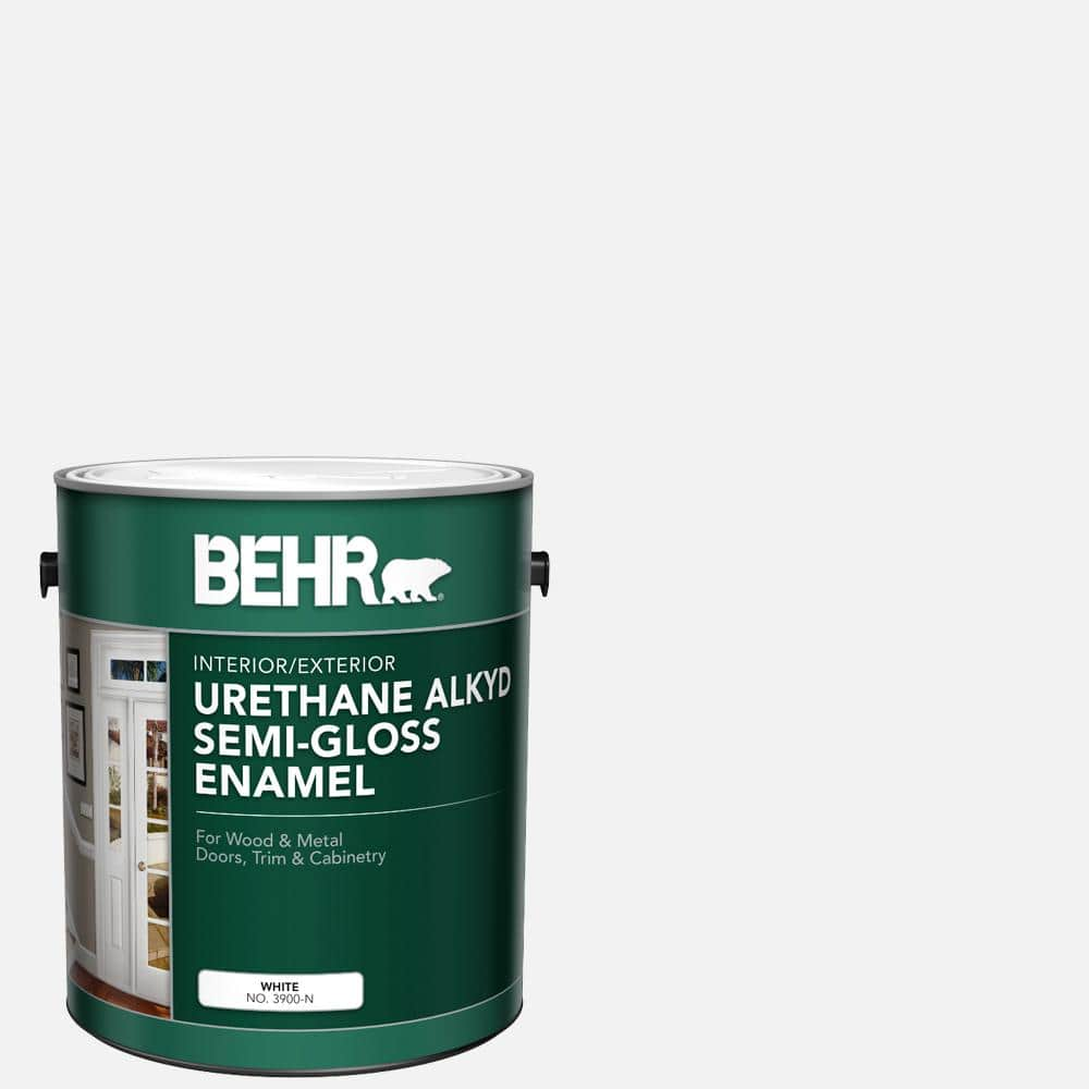 Behr 1 Gal White Urethane Alkyd Semi Gloss Enamel Interior Exterior Paint 390001 The Home Depot