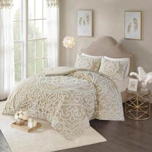 Virginia 3-Piece Taupe King/Cal King Tufted Cotton Chenille Medallion Comforter Set