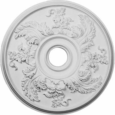 """23-5/8"""" x 4-5/8"""" ID x 1-7/8"""" Acanthus Twist Urethane Ceiling Medallion (Fits Canopies upto 8-3/8""""), Primed White"""