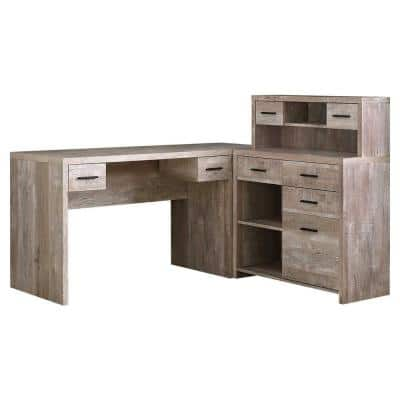 63 in. L-Shaped Taupe 8 Drawer Computer Desk with File Storage