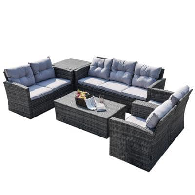 Hermione Gray 6-Piece Wicker Patio Conversation Set with Gray Cushions and Storage Box