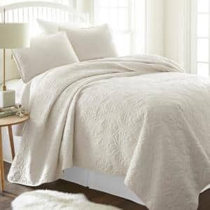 Damask Ivory Microfiber King Performance Quilted Coverlet Set