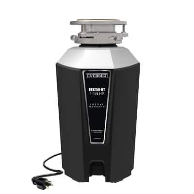 1.25 HP Continuous Feed Garbage Disposal with Stainless Steel Sink Flange and Attached Power Cord