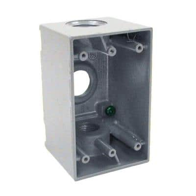 1-Gang Gray Weatherproof Box with Three 3/4 in. Outlets