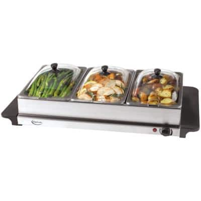 7.5 Qt. Stainless Steel Warming Tray with 3 Crocks