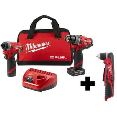 M12 FUEL 12-Volt Li-Ion Brushless Cordless Hammer Drill and Impact Driver Combo Kit(2-Tool) with M12 Right Angle Drill
