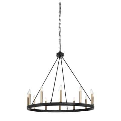 Rustic 12-Light Chandelier Black and Brass Finish Candle Style Chandelier with Metal Wagon Wheel