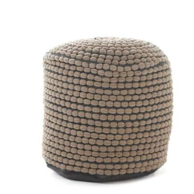 Conney Grey Fabric Round Outdoor Ottoman Pouf