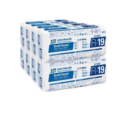 R-19 Kraft Faced Fiberglass Insulation Batt 23 in. x 93 in. (8-Bags)
