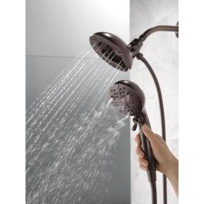 In2ition Two-in-One 5-Spray 6.6 in. Dual Wall Mount Fixed and Handheld H2Okinetic Shower Head in Venetian Bronze
