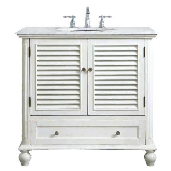 H Single Bathroom Vanity, 36 Inch Antique White Bathroom Vanity