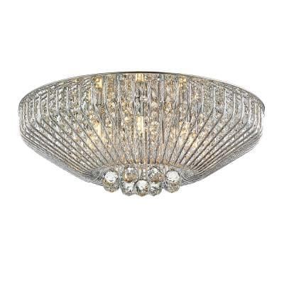 Mio III 22.6 in. 7-Light Mirrored Flush Mount with Crystals