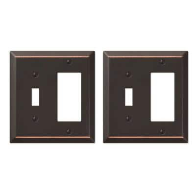 Metallic 2 Gang 1-Toggle and 1-Rocker Steel Wall Plate - Aged Bronze (2-Pack)
